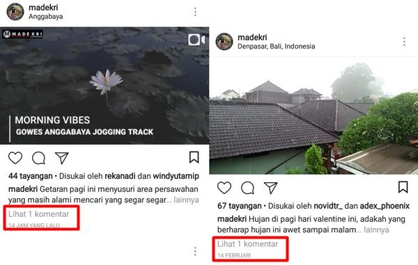 Pada Postingan Instagram Terlihat ada Satu Komentar Tapi Baru dibuka Tidak Ada