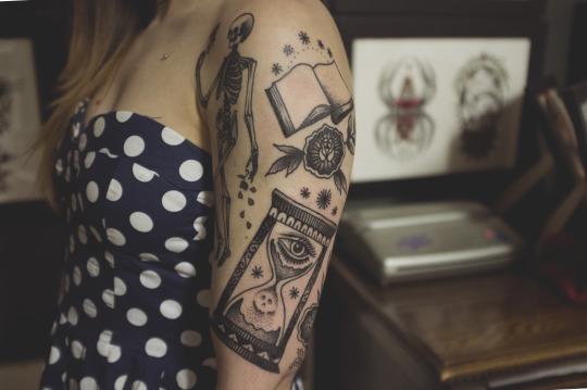 Colorful Book Tattoo Designs