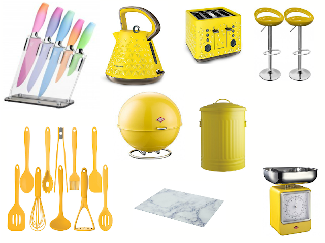 A photo collage of yellow Kitchen appliances