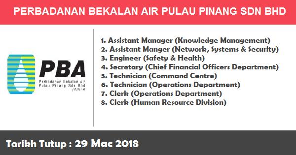Jawatan Kosong di Jawatan Kosong di Perbadanan Bekalan Air Pulau Pinang Sdn Bhd