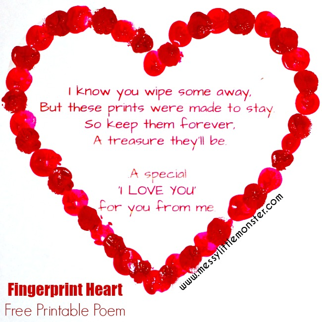 fingerprint poem. A printable fingerprint heart poem makes a perfect valentines day craft or mothers day craft for kids.