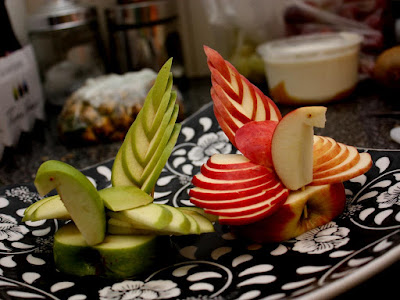 red and green swan apple carving fruit arts