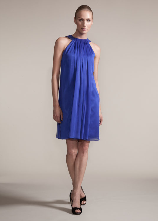 308da29c456 Nick Verreos for Lord   Taylor Project Runway cobalt blue gathered front  chiffon dress.