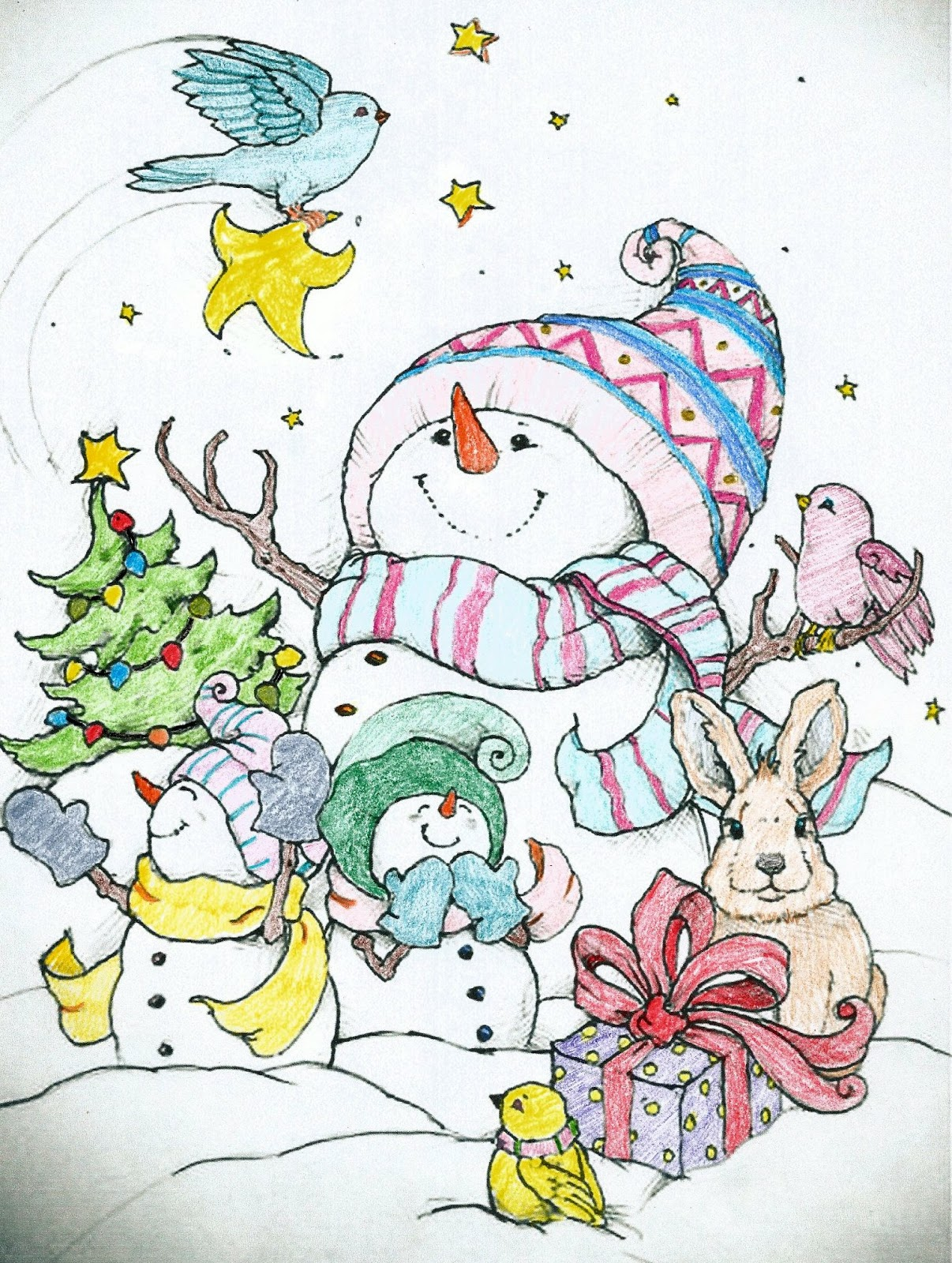 Adult Coloring Pages Seasonal Winter Christmas