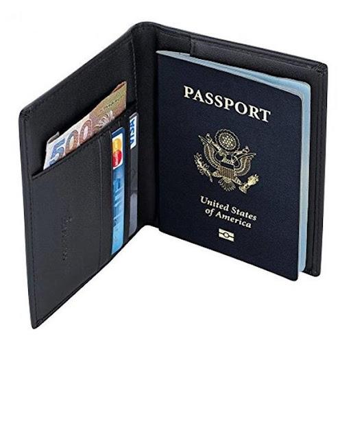 Leather Passport Cover Holder - Black