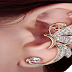 Kingfansion Splendid Cute Crystal Butterfly Wings Ear Clip Clamp jewellery Fashion jewellery for Women(only 1pc) (White)