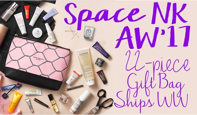 Contents of the Space NK Autumn 2017 Gift With Purchase Beauty Bag by Giles Deacon