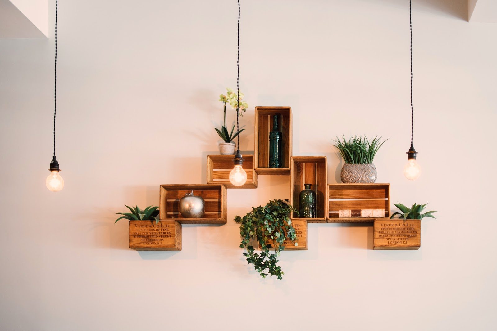 Contemporary Decoration Design Crates Mounted on Wall