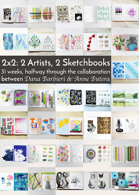 2x2 Sketchbook, collaborations, sketchbooks, art collaborations, Anne Butera, Dana Barbieri