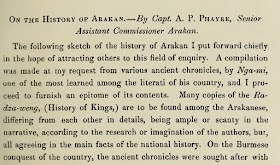 On the History of Arakan by Capt. A. P. Phayre, Senior Assistant Commissioner Arakan