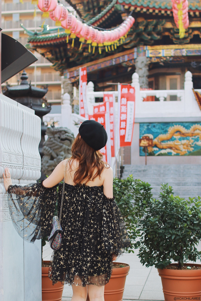 日本人ファッションブロガー,MizuhoK,20170910今日のコーデ,ベレー帽,No.5ブローチ,CHICWISH-星柄メッシュチュニックオフショルダーワンピース,CHOIES-ピンクレースアップウェッジソールサンダル,ツイードチェーンショルダーバッグ