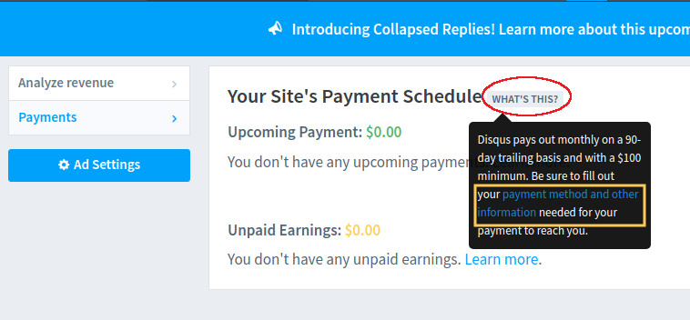 How to Edit/Add Payment Method for Disqus Ads
