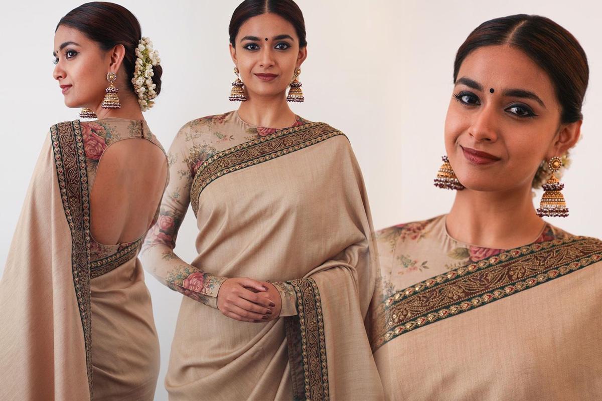 Actress Keerthi Suresh New Saree Photoshoot