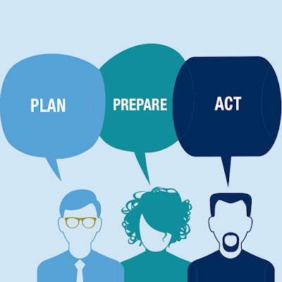 Illustration of three students giving advice.  Text: plan, prepare and act.