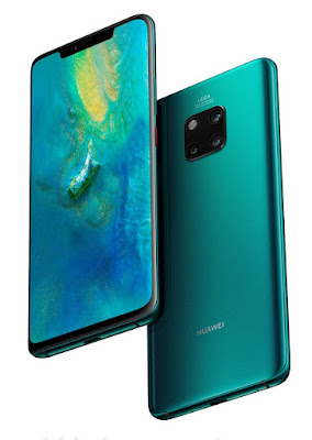Source: Huawei website. The HUAWEI Mate 20 Pro in Emerald Green. It can be differentiated from the HUAWEI Mate 20 by its larger notch at the top of the screen.