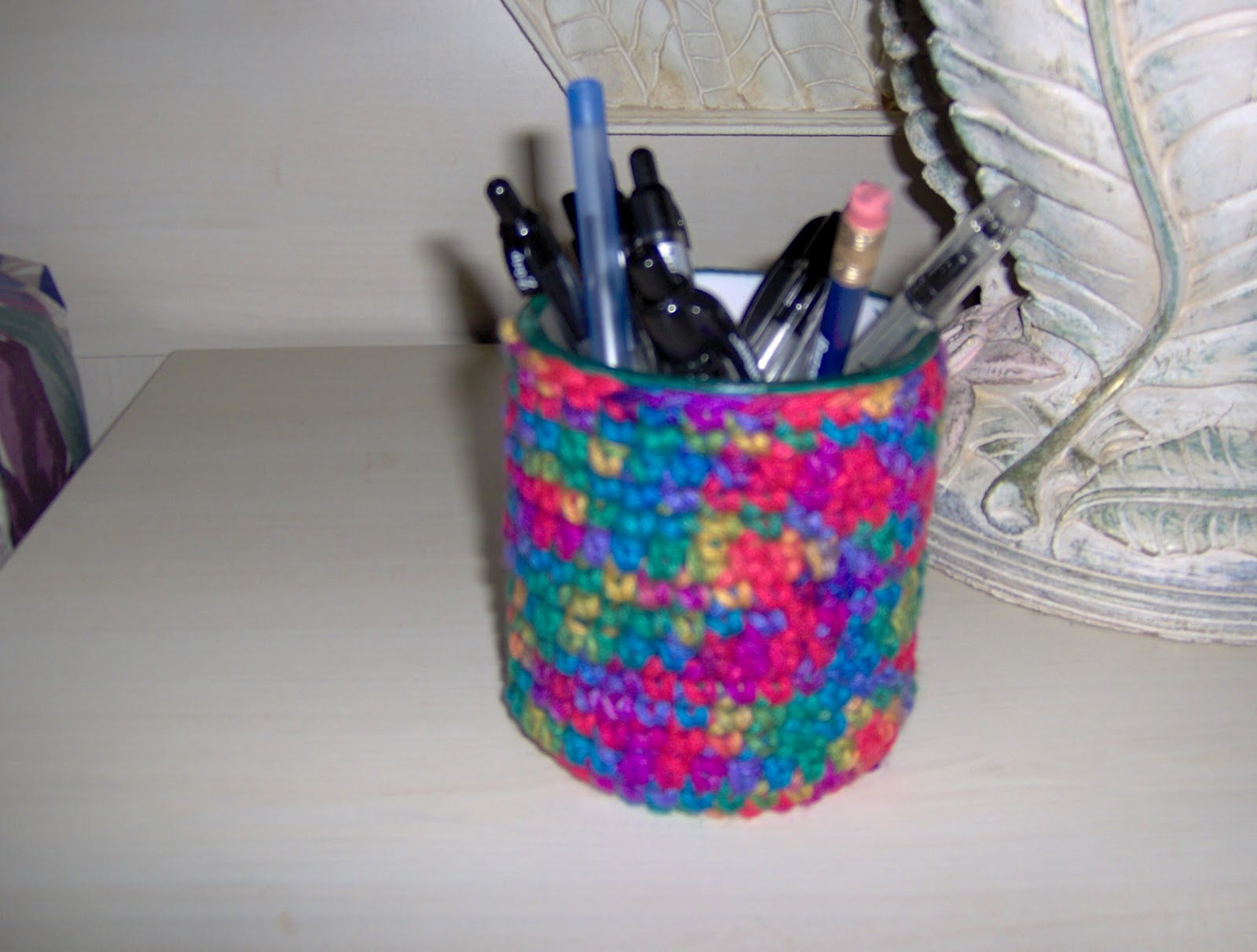 Pen Cup Holder Birdies Crochet And Craft Pen Pencil Cup Holder
