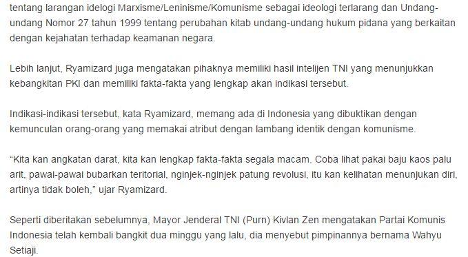 Menteri Pertahanan Ryamizard Ryacudu Ikut Membenarkan Kivlan Zein Mengenai Indikasi Bangkit Nya Kembali Partai Komunis PKI Di Negara Republik Indonesia - Commando