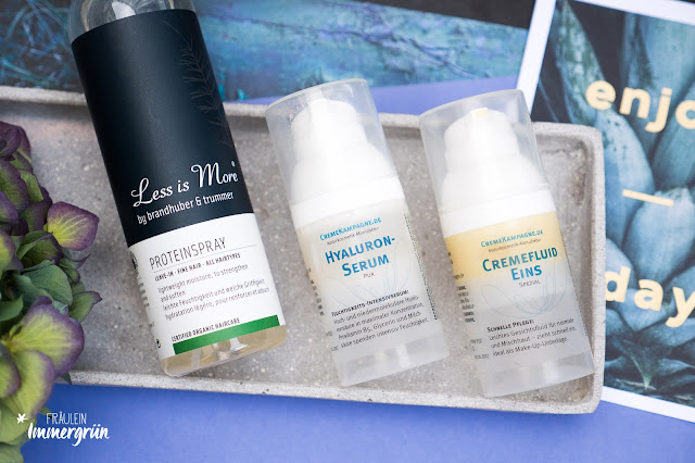 Less is More Proteinspray, Cremekampagne Hyaluronserum + Cremefluid Eins