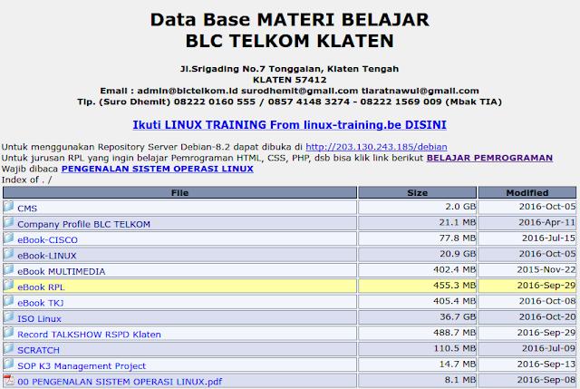 Beberapa Materi Linux yang ada di database BLC Telkom Klaten