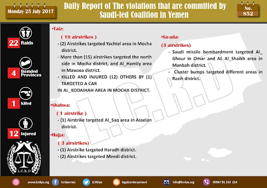 The Violations and Crimes that are committed by #Saudi_Arabia and its alliance in #Yemen 25/7/2017