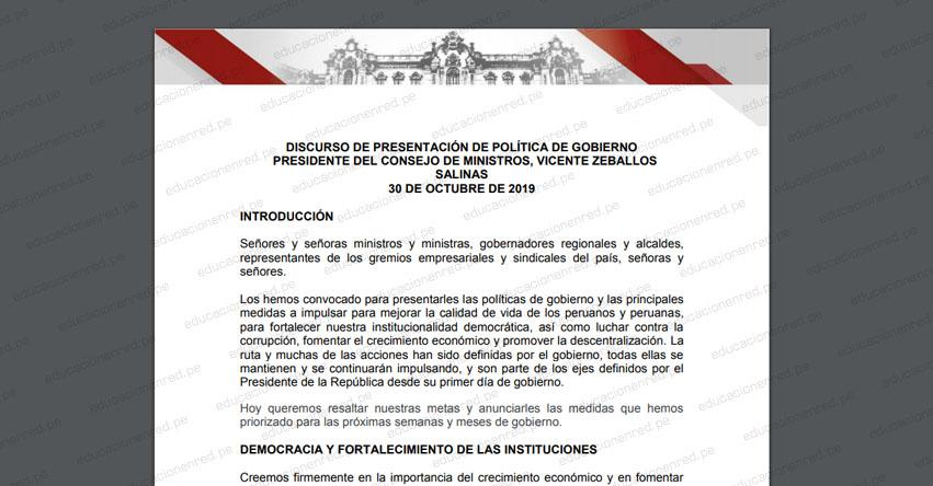 Sepa qué anuncios presentó el premier Vicente Zevallos sobre educación