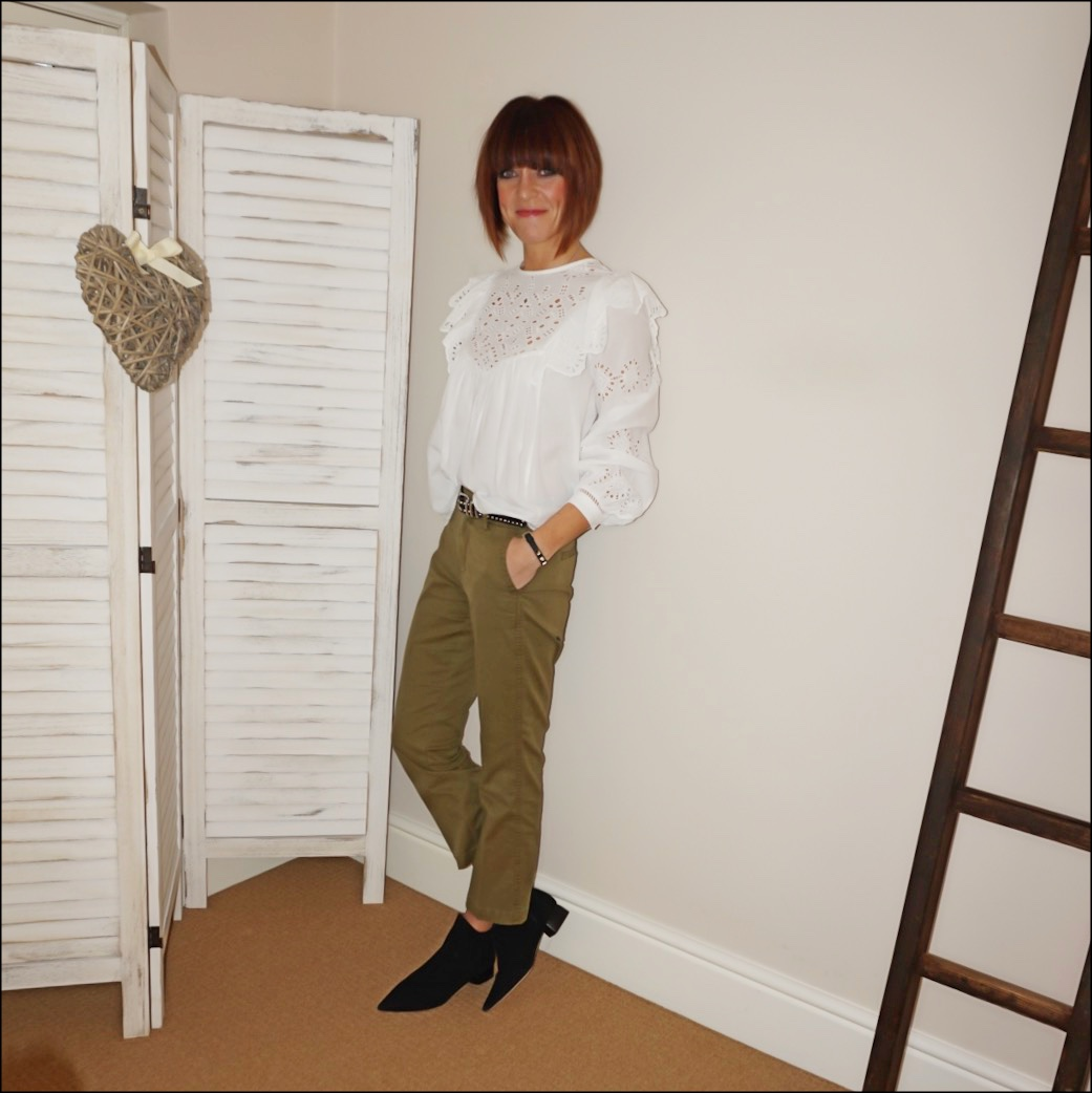 my midlife fashion, h and m embroidered blouse, the kooples studded belt, j crew cropped kick flare chinos, amazon suede flat leather boots
