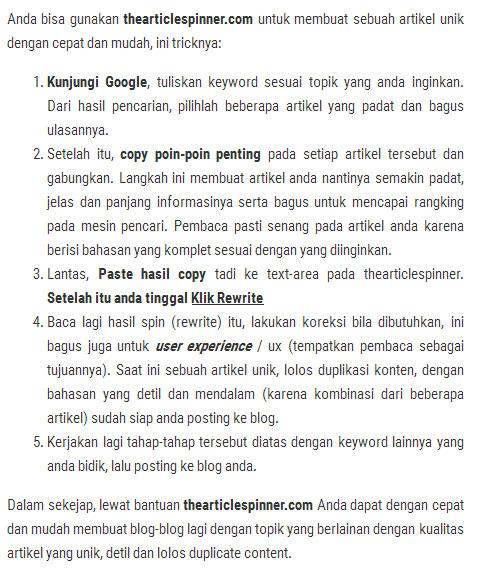 cara tulis ulang artikel dengan rewrite artikel indonesia