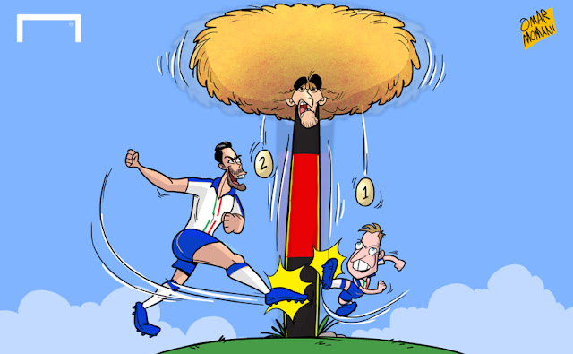 Giaccherini and Pelle kicks Fellaini cartoon