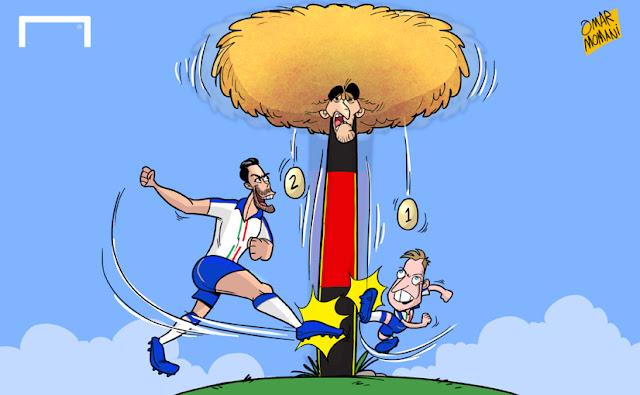 Giaccherini and Pelle kicks Fellaini cartoon