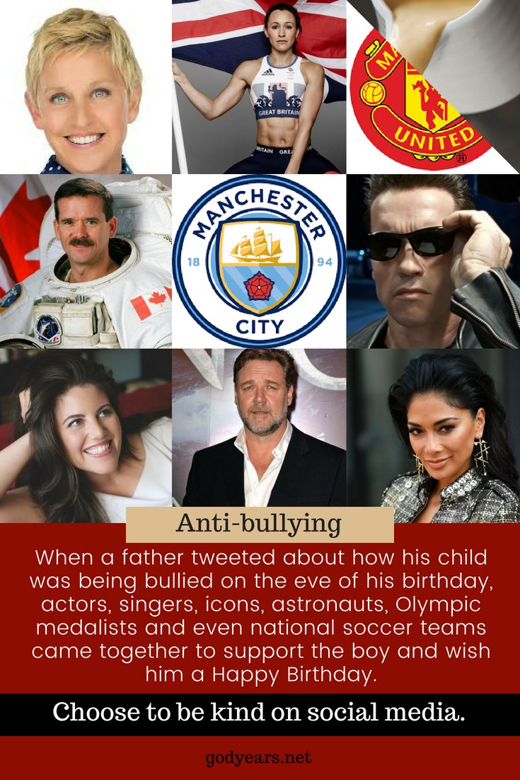 When a father tweeted about how his child was being bullied on the eve of his birthday, celebrities including Ellen Degeneres, Arnold, Hugh Jackman, Russell Crowe, astronauts, Olympic medalists and even national football teams came together to support the boy and wish him a Happy Birthday.