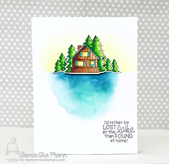 Lost at the Lake Card by Samantha Mann | Winston's Lake House Stamp set by Newton's Nook Designs  #newtonsnook