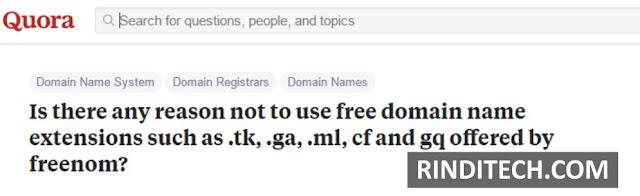 Hati – hati dengan Website yang mempunyai akhiran ini (.tk .ga .ml .cf .gq)