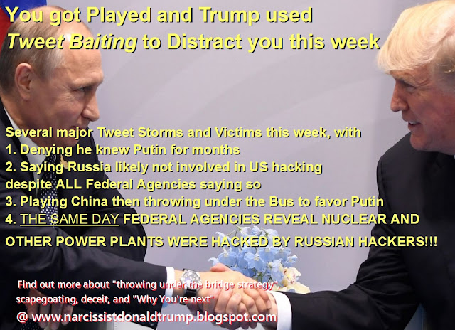 trump puting handshake: Several major Tweet Storms and Victims this week, with 1. Denying he knew Putin for months 2. Saying Russia likely not involved in US hacking despite ALL Federal Agencies saying so 3. Playing China then throwing under the Bus to favor Putin 4. THE SAME DAY FEDERAL AGENCIES REVEAL NUCLEAR AND