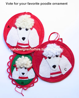 French Poodle Christmas Ornaments