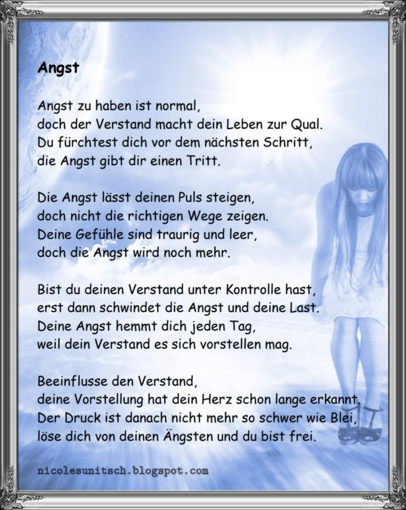Gedicht Angst Um Dich Denkpau L Sen Gedicht Gegen Die Angst
