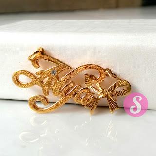 kalung nama lapis emas grafir - alya