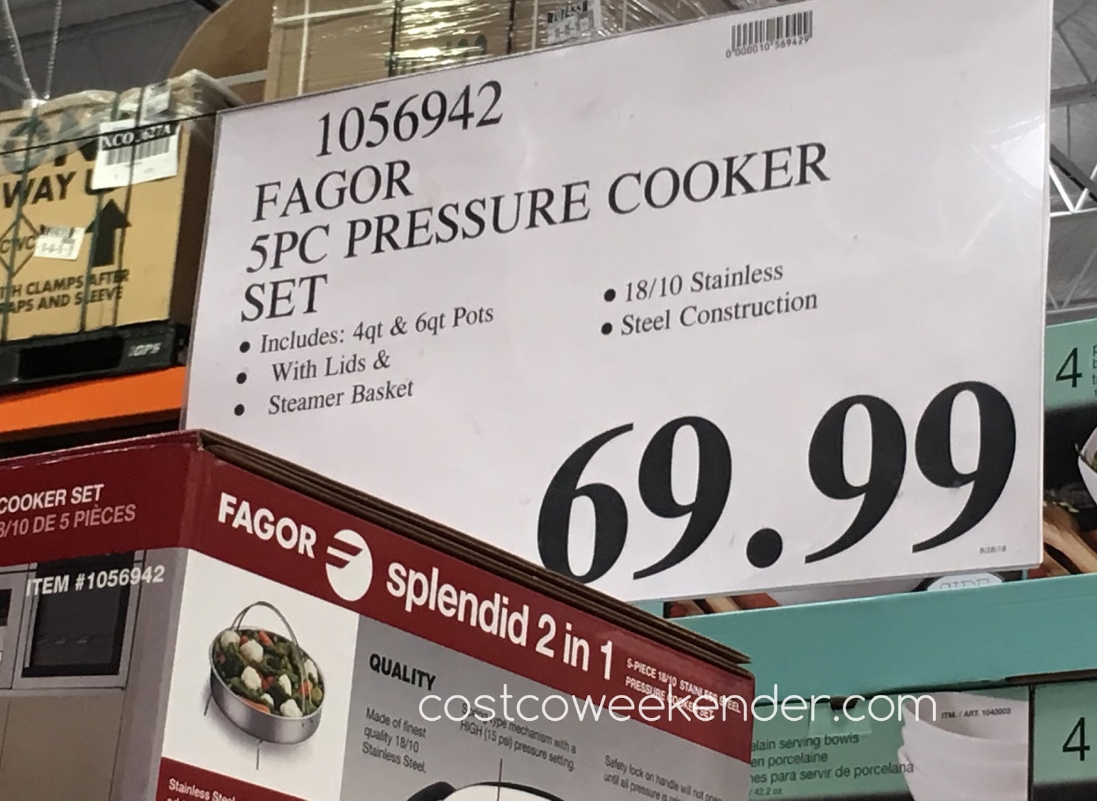 Deal for the Fagor Splendid 2 in 1 5-piece 18/10 Stainless Steel Pressure Cooker Set at Costco