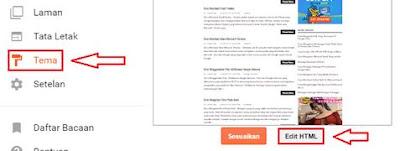 Klik Tema > Edit HTML