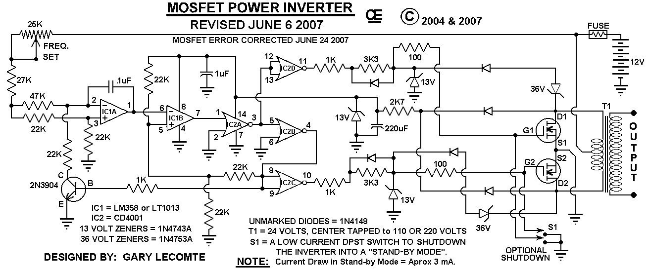 circuit diagram: 500W Mos Fet Power Inverter from 12V to
