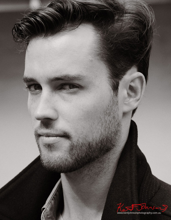Headshot in black and white - Male modelling portfolio by Kent Johnson, Sydney, Australia.
