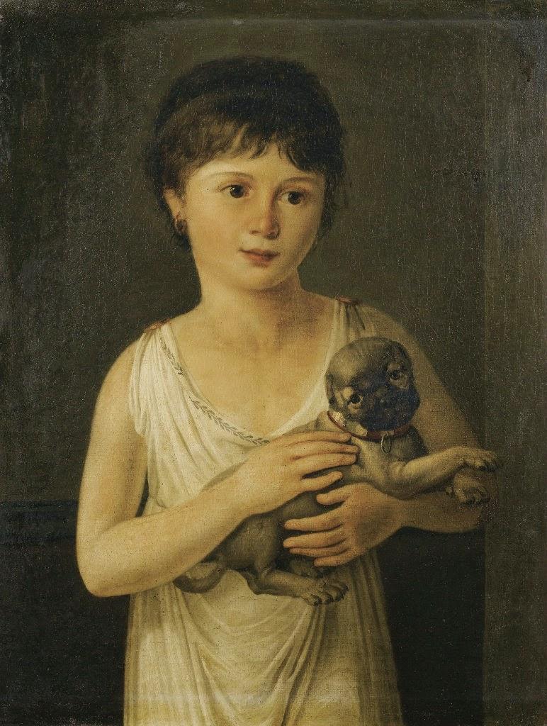 Portrait De Fillette Avec Son Carlin, Jeanne-Elisabeth Chaudet