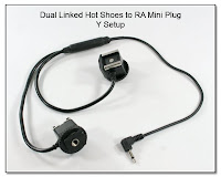 HS1013B: Dual Linked Hot Shoes to RA Mini Plug -