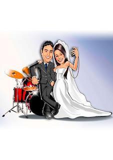 caricatura de noivos músicos