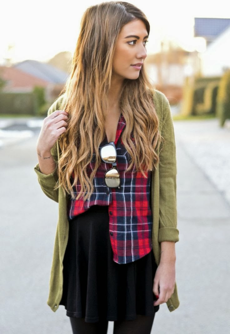 Women's Fashion army green + red plaid + black.