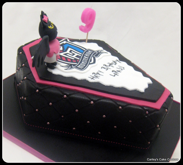 Monster high coffin cakes the image kid for Coffin cake template