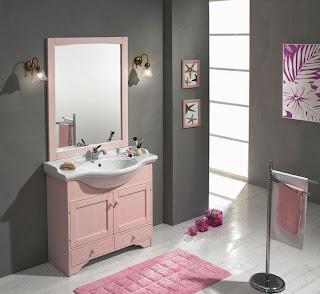 Diseño baño rosa gris