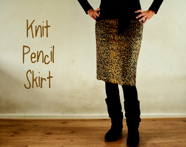 knit animal print leopard pencil skirt