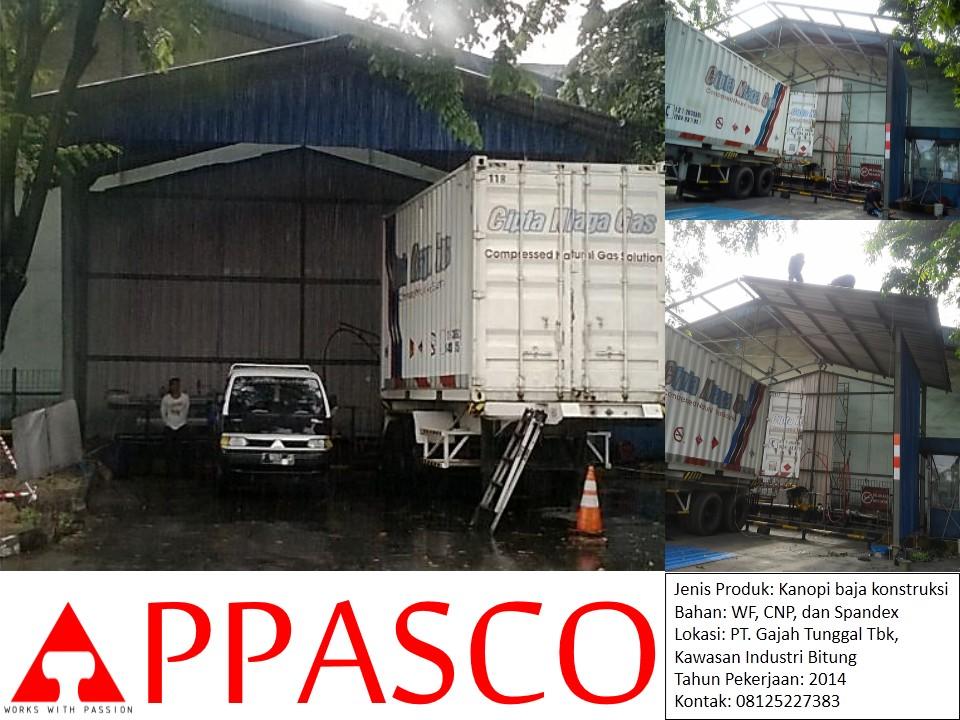 Kanopi Baja Konstruksi Spandex CNP di PT Gajah Tunggal