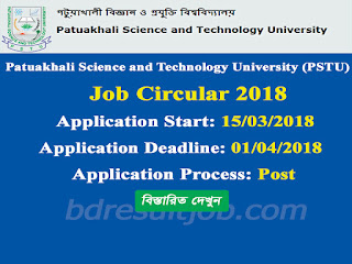 Patuakhali Science and Technology University (PSTU) Recruitment Circular 2018