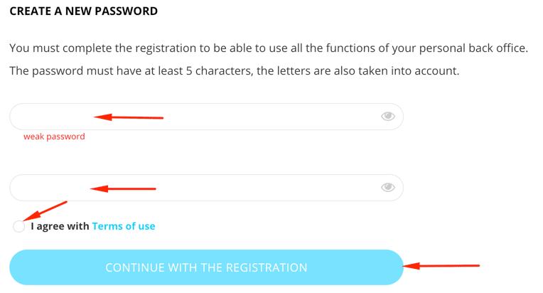 Регистрация в Elirtex 4